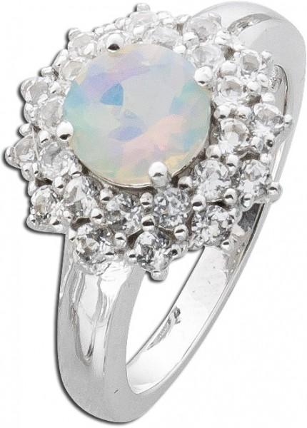 Ring Opal Silber 925 blau weiß Topas
