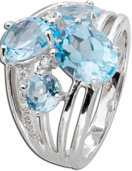 Topasring Silber 925 Blautopas weisse Topase