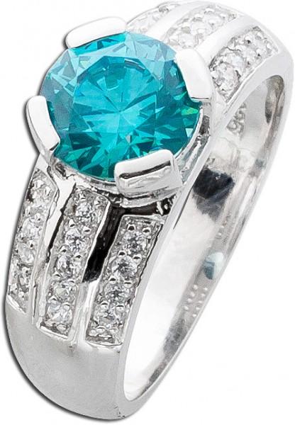 Ring Silber 925 blauer Kristall Swarovski mint Paraiba Turmalin Farbe weisse Zirkonia