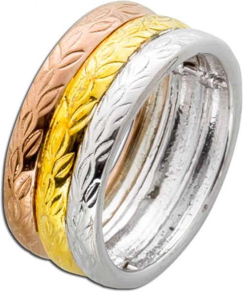Ring Damen Silber 925 Tricolor weiss rose gelb vergoldet