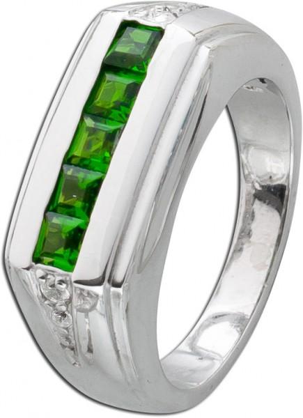 Edelstein grün Ring Silber 925 Chromdio...