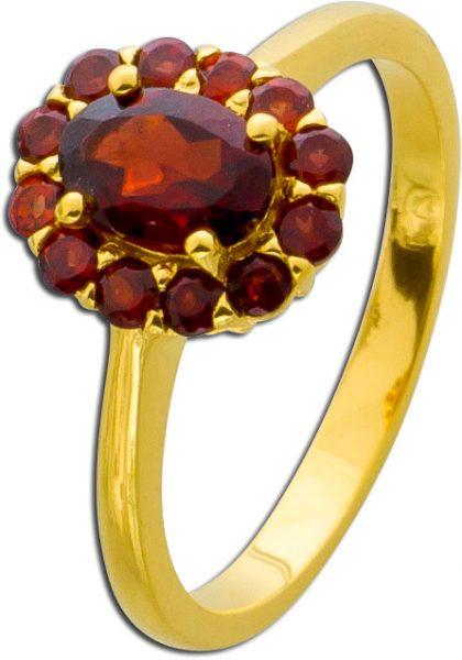Granatring rot Sterling Silber 925 vergoldet