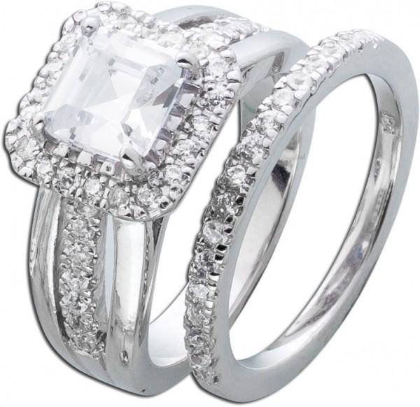Silberring Ring weisse Zirkonia Silber 9...