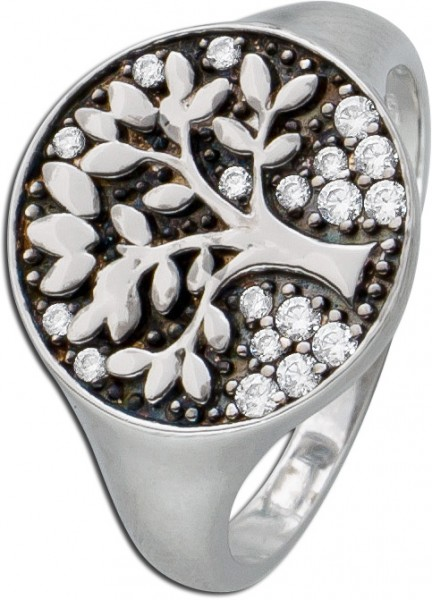 Damen Ring Silber Silberring Zirkoniaring Lebensbaum weisse Zirkonia geschwärzt Silber 925