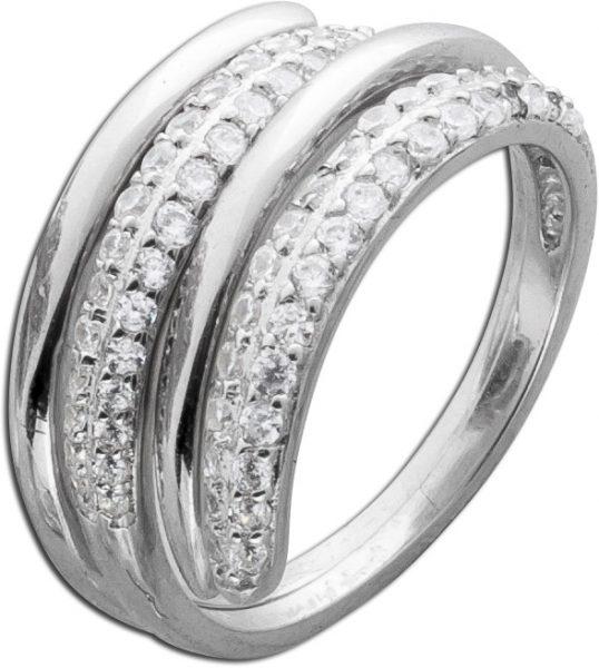 Silberring Ring Silber Damenring Set weiße Zirkonia