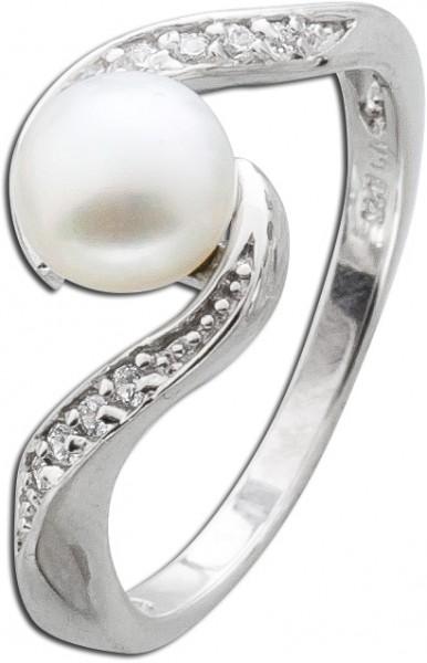 Silber Perlenring weißer Süsswasserzuc...