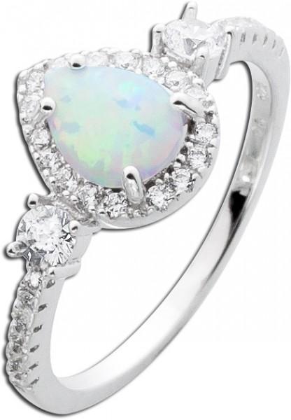 Damen Ring Silber 925 weiß blauer Opal ...