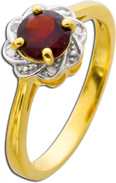 Diamant Ring Edelstein rot Granat Silber...