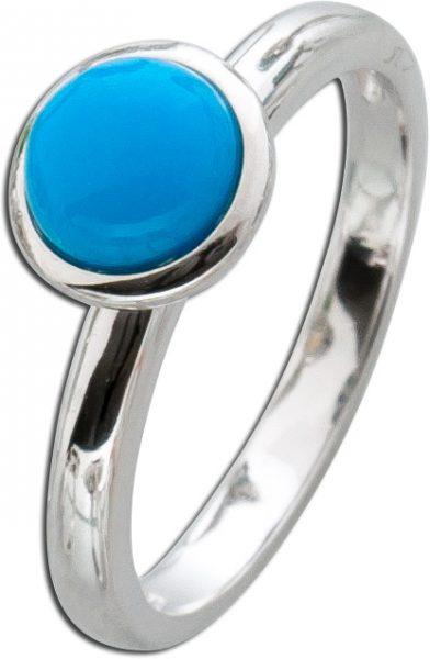 Silberring Türkis Ring Silber 925 Edelstein blau synthetisch