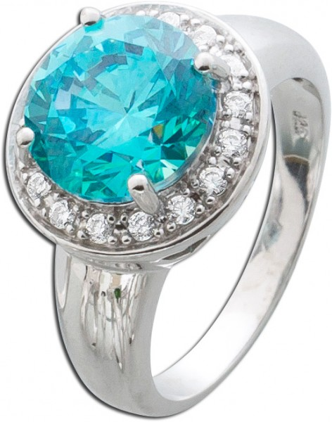 Ring Silber 925 Swarovski Kristall blau ...