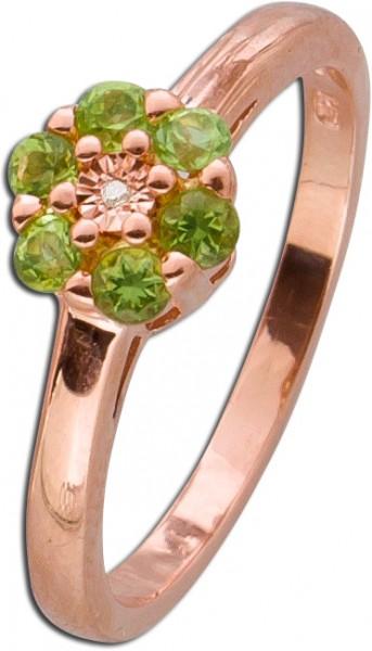 Diamant Ring Silber 925 rose vergoldet grüner Peridot Edelsteinring