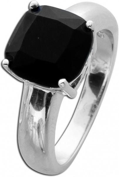 Onyxring Sterling Silber 925 Onyx facett...