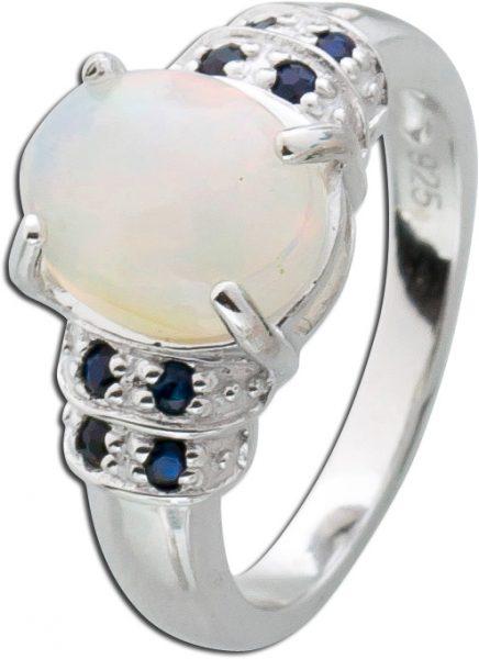 Opalring Sterling Silber 925 ethiopischen Opal nachtblauen Saphiren