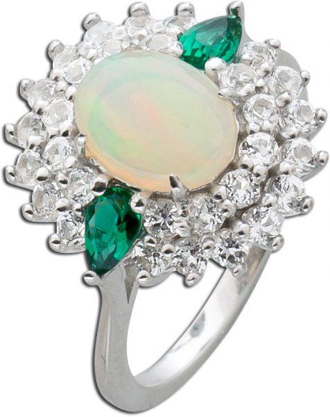 Opalring Sterling Silber 925 ethiopischer Opal weißen Topasen