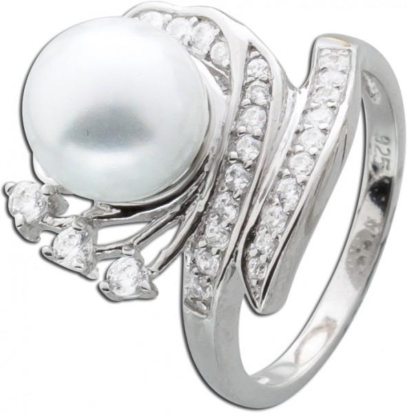 Ring Sterling Silber 925 weiße Glassper...