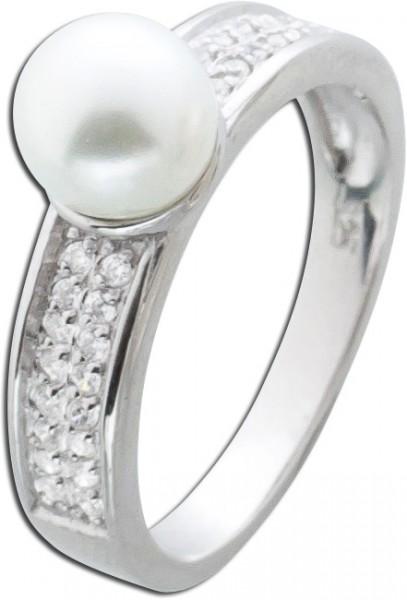 Silberring Perlen Ring Silber 925 Zirkon...