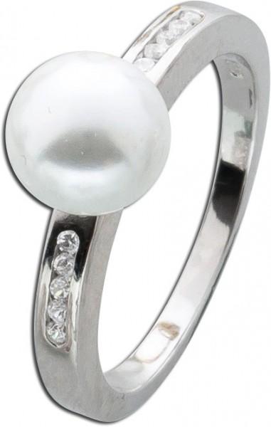 Silberring Perlen Ring Silber 925 weiße Glasperle Zirkonia
