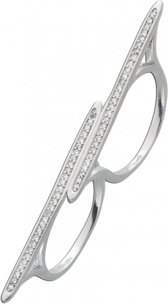 Zweifingerring Sterling Silber 925 Zirkonia
