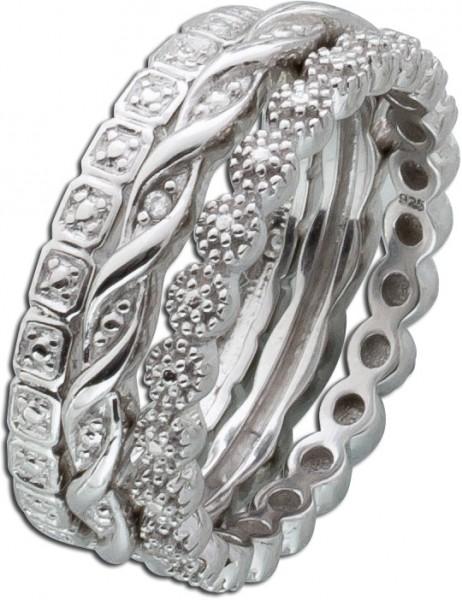 Silberring Diamanten Sterling Silber 925 Set 3-teilig
