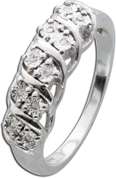 Silberring weißen Diamanten Silber 925 ...