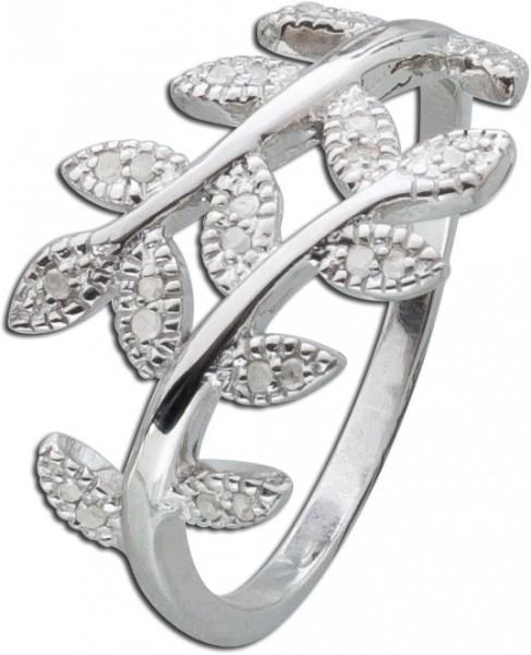 Diamantring Blätterring Silberring weisse Diamanten Sterling Silber 925