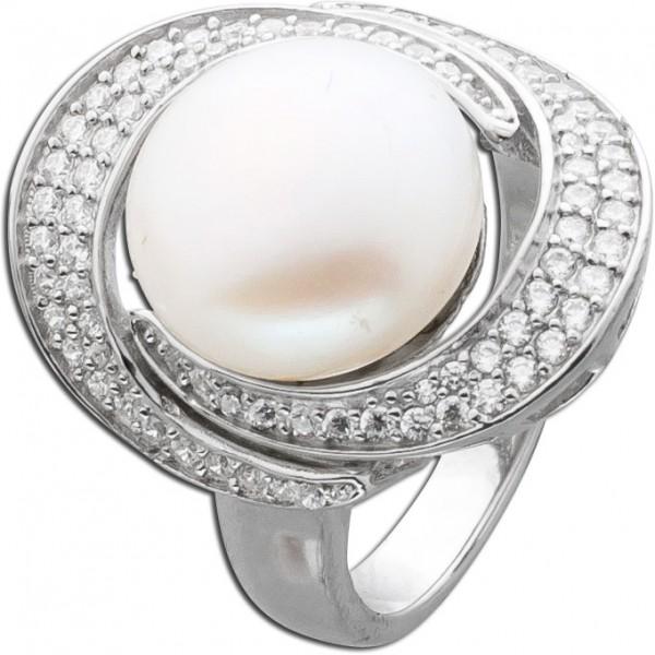 Perlenring Silber 925 Zirkonia cremefarb...