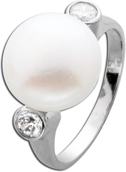 Ring Silber 925 Damenring Perle weiß Zi...