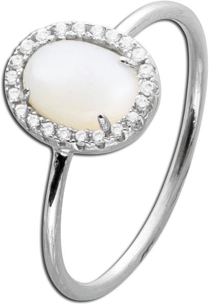 Weißer Perlmutt Ring Silber 925 Zirkonia