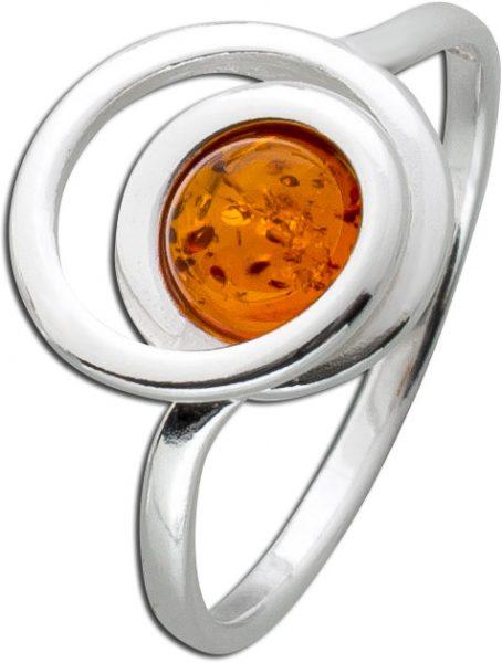 Bernstein Ring Braun Orange Cognac Silber 925 runder Bernstein Edelstein echt