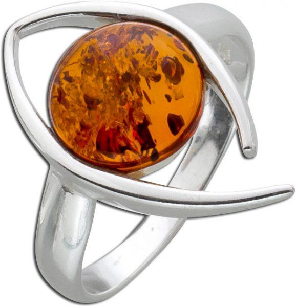 Bernstein Ringe Orange Braun  Cognac Silber 925 Bernstein runder Edelstein Natur echt