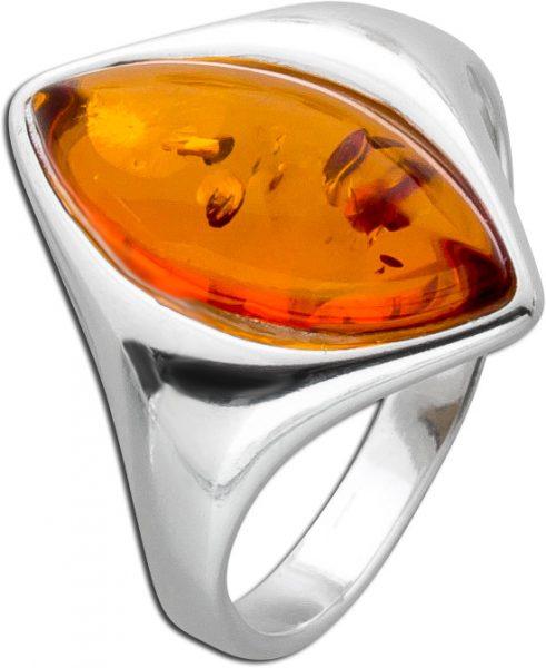 Bernstein Ringe Orange Braun  Cognac Silber 925 Bernstein Navette Edelstein Natur echt