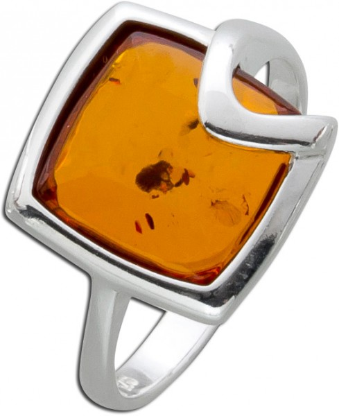 Bernstein Ring Braun Orange Cognac Silber 925  lange Bernsteinringe Edelsteinringe