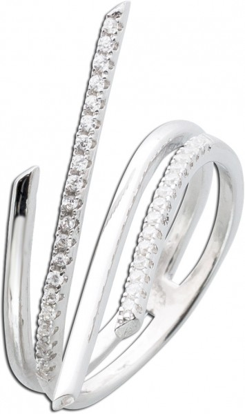 Silberring Ring Silber 925 modern weiß Zirkonia Damenring