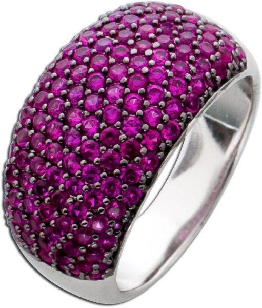 Roter Zirkonia Ring Silber 925 Rubinfarben Fassung geschwärzt