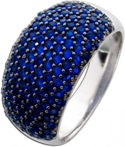 Ring Silber 925 Saphir blau farbige Zirkonia Damenring