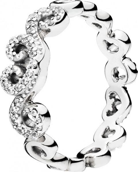 PANDORA SALE – Ring 197117CZ Heart Swirls Sterling Silber 925 klarer Zirkonia Größe 17-19mm