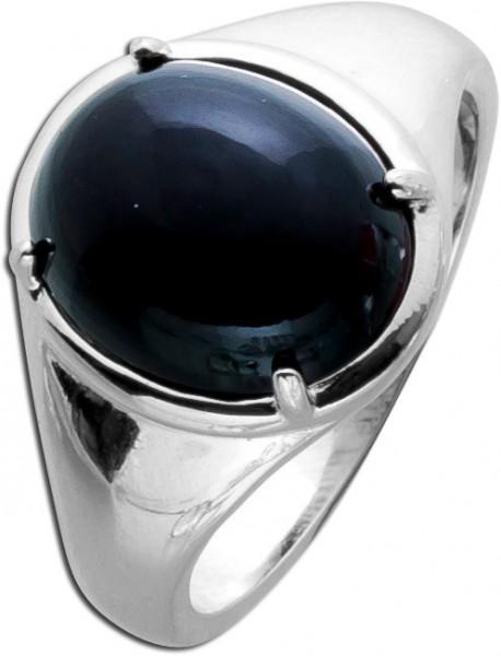 Edelsteinring schwarz Ring Silber 925 On...