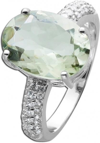 Grüner Amethyst Ring Sterling Silber 925  grünen ovalem Zirkonia