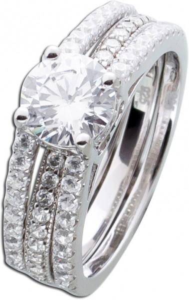 Zirkonia Ring Damen Ring Silberringset 2...