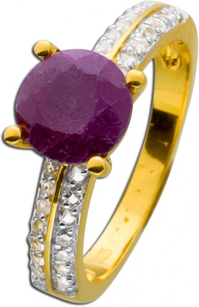 Rubin Ring rot Silber 925 vergoldet weis...