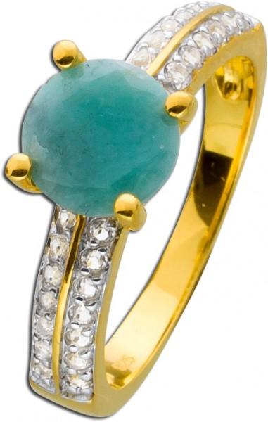Smaragd Ring Silber 925 Gold vergoldet E...