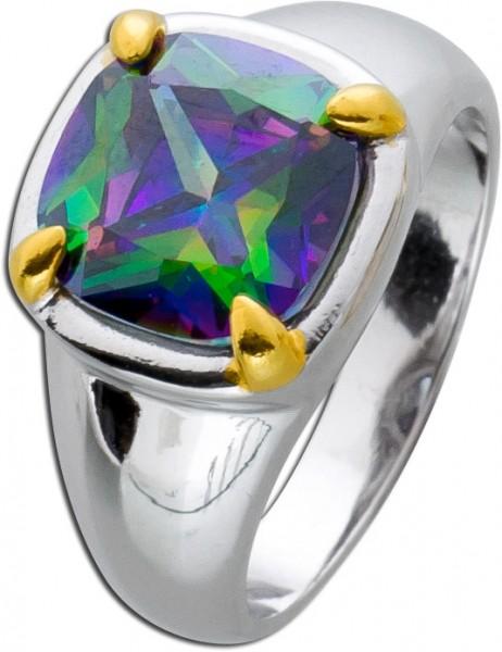 Solitär Ring Silber 925 Edelstein grün Topas rechteckig