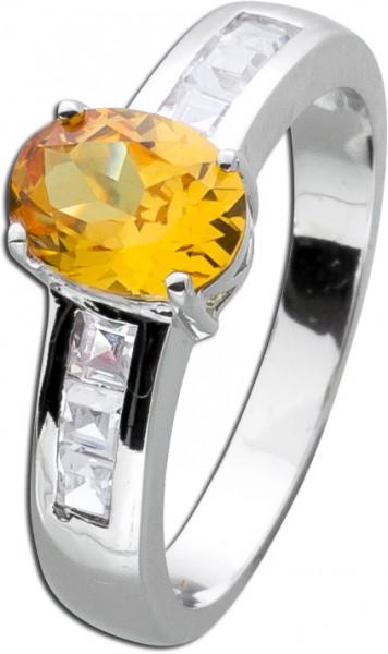 Ring Citrin gelb orange Silber 925 Citri...