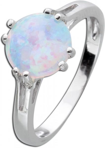 Solitär Ring Silber 925 weiß blauer Op...