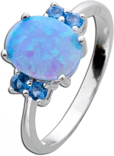 Opal Ring Silber 925 blauer Opal blaue Z...