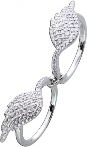 Zweifingerring Silber 925 Ring Flügel Engelflügel weiße Zirkonia