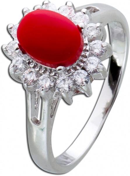 Korallen Ring rot Silber 925 weisse Zirkonia Lady Di Look