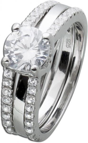 Zirkonia Ring Set 2-teilig Silber 925  D...