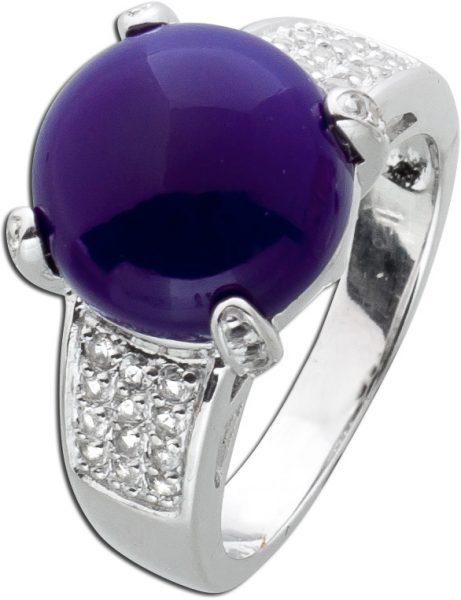 Dunkelblauer Chalcedon Edelstein-Ring Silber 925