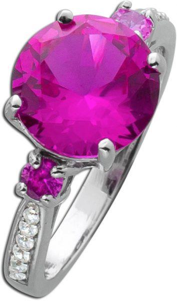 Pinker Edelstein-Ring Silber 925 3 pinke Saphire weisse Zirkonia rekonstruiert